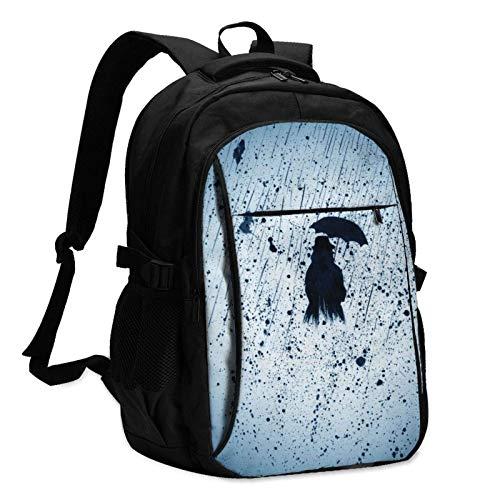 XCNGG Mochila USB con múltiples Bolsillos, Mochila Informal, Mochila Escolar Woman Umbrella Unisex Travel Laptop Backpack with USB Charging Port School Anti-Theft Bag
