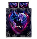 Dragon and Wolf Galaxy Mandala Quilt Bed Set Pillow Cover Duvet Cover 3 Pieces Full Size Lap Throw Twin Queen King