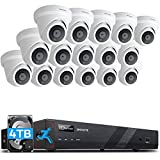 ONWOTE 16 Channel 4K 8MP PoE Security Camera System 4TB, Smart Person Detection, Power-Over-Ethernet, (16) Outdoor Audio PoE IP Camera, 16CH H.265 NVR 2 Storage Bays, 16-CH Synchro Playback