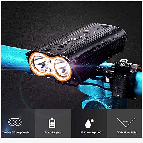 QIANDENG Fahrradlicht USB wiederaufladbare, 2 T6 LEDs Fahrradlampe 2400 Lumen Superhelle wasserdichte Front Fahrradbeleuchtung, Taschenlampe - für Camping/Nachtfahrten