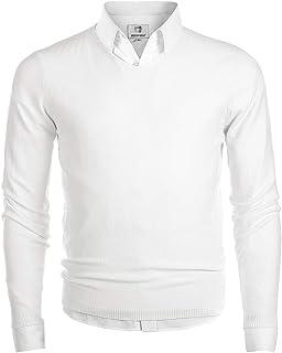 Garatia Pull Homme à Col V avec Manches Longues Confortable en Polyester