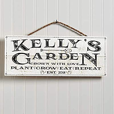 """Artblox Personalized 100% Real Wood Garden Signs Decorative Outdoor   Farmhouse Decor for The Home  Last Name Signs for Home   Family Sign   Housewarming Gifts   Wedding Gifts - (18"""" x 7"""") White"""