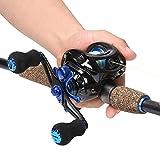Sougayilang Sapphire Fishing Rod with Reel Combos Baitcasting Telescopic Travel Non-Slip Rubber Handle Fishing Kits, Medium Power (7FT Rod+Left Hand Reel)