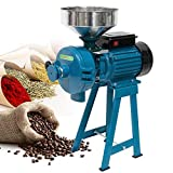 H&ZT 110V Electric Grinder Machine, 3000W Flour Mill Cereals Grinder, Milling Rice Corn Grain Coffee Wheat Feed, Wet Dry Cereals Grinder W/Funnel (black-wet&dry)