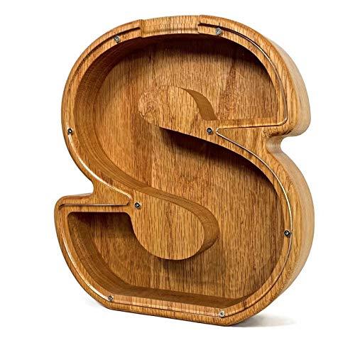 JinYiny Hucha de Madera Personalizada Banco de Monedas con Letras Personalizadas Caja de Dinero de Madera Marco Juguetes de Madera Banco de Ahorro de Dinero Moderno Regalo de Cumpleaños para Niños