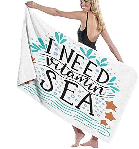 Toalla De Playa Microfibra,Necesito Vitamina Cita Inspiradora del Mar Dibujada A Mano con Olas De Coral,Estrellas De Mar,Burbujas Toalla De Baño Grande Toalla De Playa Ligera Viajes FA