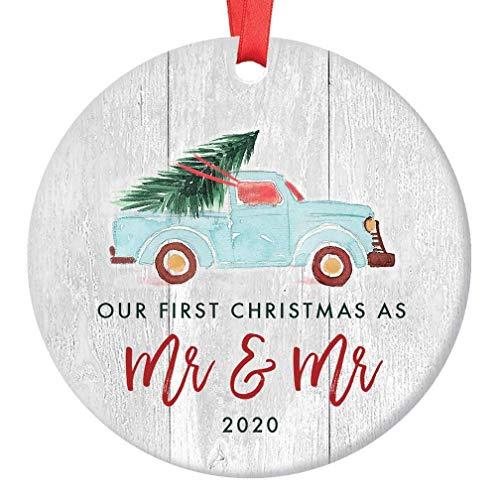 Gay Newlywed Christmas Ornament 2020 First Christmas as Mr & Mr Wedding Present Idea Vintage Blue Pickup Truck Rustic Farmhouse Ceramic Keepsake 3' Flat Circle Porcelain w Red Ribbon & Free Gift Box