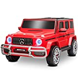 Uenjoy 12V 2 Seats Mercedes Benz G63 Kids Ride On Car Electric Cars Motorized Vehicles with Remote Control, Music, Horn, Spring Suspension, Safety Lock, LED, AUX, USB, FM, Bluetooth, Red