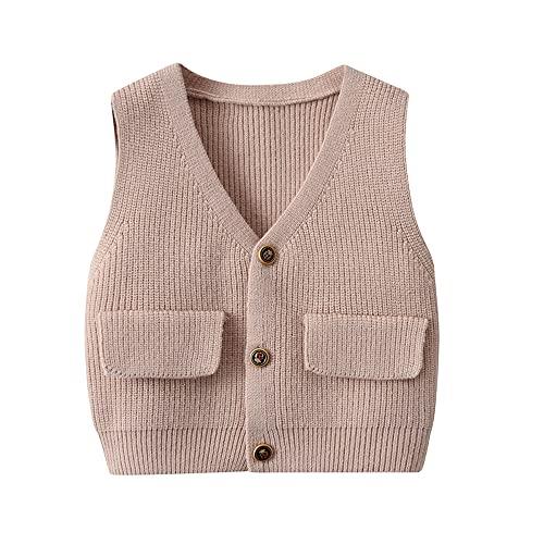 Vivobiniya Toddler boy Knit Vest V-Neck Cardigan Kids Autumn Clothes 6m-3Y (90(18-24m), Khaki(3))