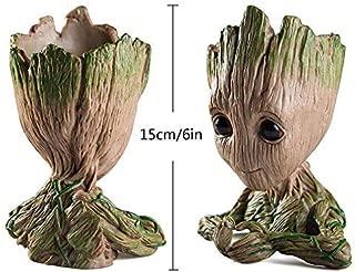 Tdream Baby Groot maceta de flores, maceta de dibujos animados para bebé figura de acción maceta/soporte para bolígrafo con agujero para niños (forma de corazón)