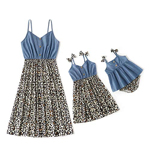 IFFEI Mommy and Me Matching Rompers Sleeveless Leopard Stitching Solid Tank Dresses for Mother and Daughter Blue Toddler Girl
