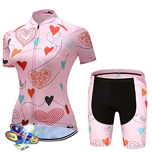 Women's Cycling Jersey Short Sleeve Set, Breathable Cycling Suits with 19D Padded Tight Shorts (Color : A, Size : M)