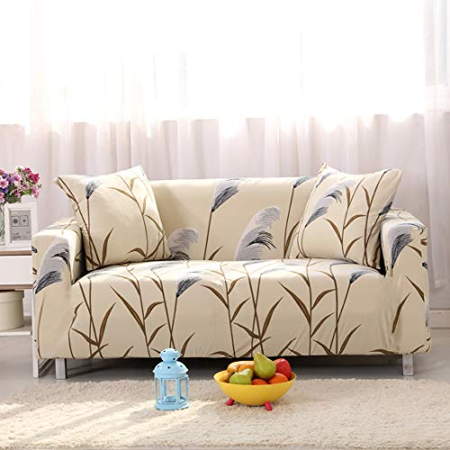 Chozan Pattern Sofa Slipcovers Stretch Printed Sofa Cover with 2 Pillowcases for 4 Seat Cushion Couch Furniture Pet Protector Anti-Slip Stylish Spandex Cover(Reed Love, Sofa-4 Seater)
