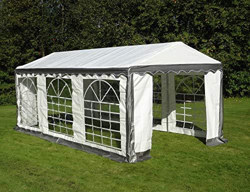 Dancover Partyzelt Pavillon Festzelt Plus 4x6m PE, Grau/Weiß