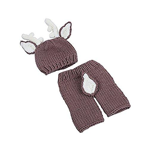 TOOGOO Accessoires de photo de bebe Costume de tenues en tricot de bebe filles et bebes garcons Chapeau et pantalon (Cerf)
