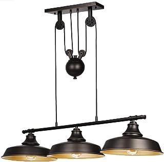 Ganeed Lámpara colgante Pully de 3 luces, isla de cocina rústica con cortinas de metal, altura ajustable para colgar, lámpara de techo industrial vintage para comedor, barra de granja