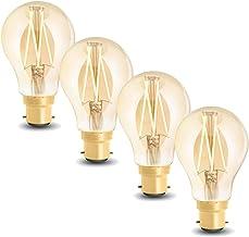 WiZ Smart Tunable Whites LED Filament Globe - A60 B22 Amber Glass - 720lm - Pack of 4 - 2000K~4500K - WiFi - No Hub Requir...