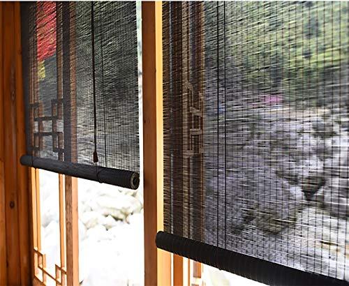 Bambú Estores Enrollables Persiana Enrollable de Bambú de 60cm de Ancho, Cortina Enrollable con Filtro de Luz Al 60% de Estilo Japonés con Accesorios y Ganchos, Interior Oficina Salón de Té
