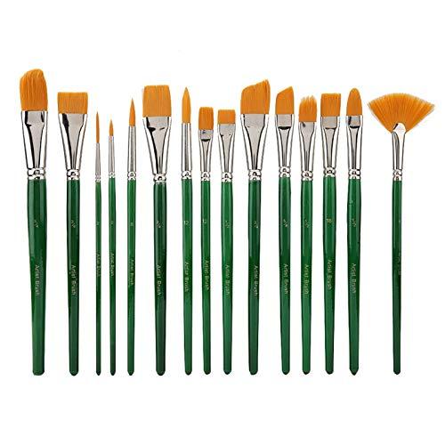 15pcs / set Pincel de pintura, Kit de pinceles de nailon verde para pintar el cabello Pinceles de pintura de artista en miniatura para acuarela Gouache Pintura facial Detalle de pintura de contorno de