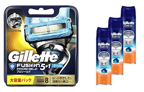 【セット買い】ジレット 髭剃り フュージョン5+1 プロシールド クール 替刃 8個入 & プログライドジェル 195g×3個