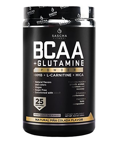 Sascha Fitness BCAA 4:1:1 + Glutamine, HMB, L-Carnitine, HICA | Powerful and Instant Powder Blend with Branched Chain Amino Acids (BCAAs) for Pre, Intra and Post-Workout (Piña Colada)