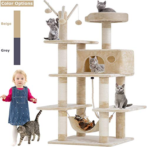 BestPet Cat Tree Tower Condo Playground Cage Kitten Multi-Level 56 inches Activity Center Play House Medium Scratching Post Furniture Plush Perches with Hammock,Beige