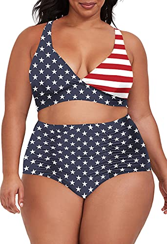 Sovoyontee Women's 2 Piece Plus Size High Waisted Swimsuit Bathing Suit, American Flag, 4XL