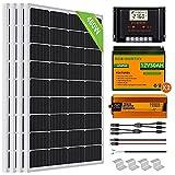 ECO-WORTHY 2kW·h/día Kit Panel Solar con Inversor y Batería 480W 24V Fuera de la Red para RV/Doméstico: 4 Paneles solares 120W + Controlador de 30A + 2 Batería de litio de 50Ah + Inversor 1500W 24V
