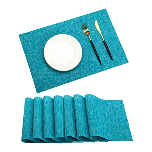 PABUSIOR Placemat, Table Mats Set of 8 Washable, Easy to Clean Non-Slip Woven Vinyl Placemats for Dining Table (12 X 18 Inch Peacock Blue)