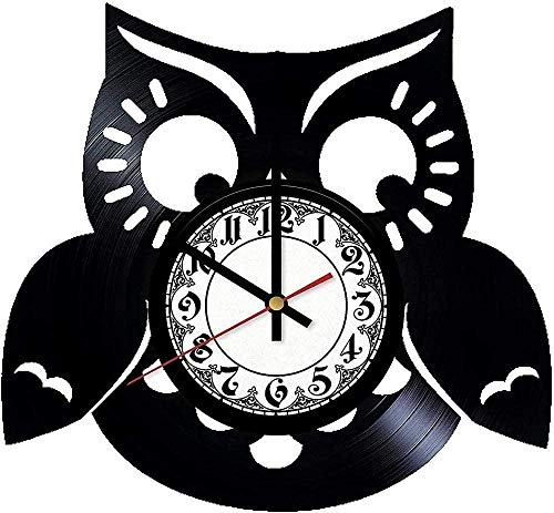 ZYBBYW Cartoon Owl Vinyl Wanduhr-Retro Vinyl Schallplatte Wanduhr Schallplatte Home Decoration-No_Led_Light