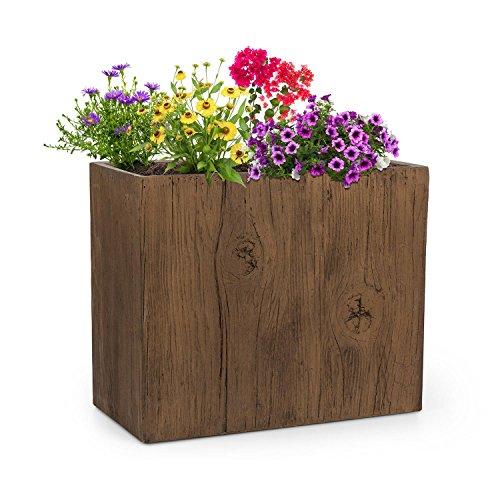 blumfeldt Timberflor - Vaso per Piante Fiori, fioriera, Posizionamento Libero, nessun Foro di drenaggio dell Acqua, Fibra di Vetro, Stabile, per Interni Esterni, Effetto Legno,Marrone