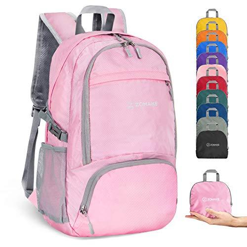 ZOMAKE 30L Ligera Mochila Plegable de Senderismo Excursión Deportes, Mochilas Pequeña Impermeable para Mujer Hombre Viaje(Rosa Claro)