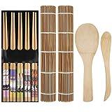 Kit de Hacer Sushi Estera de Bambú de Sushi Palillos Esparcidor Paleta de Arroz para Principiante Cocinero DIY 9 Piezas
