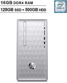 HP 2019 Pavilion 590 Desktop (Intel Quad Core i3-8100 3.6 GHz, 16GB DDR4 RAM, 128GB SSD (Boot) + 500GB HDD SSD, Intel UHD Graphics 630, Bluetooth, HDMI, DVD, Windows 10 Home) (Renewed)