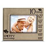 BELLA BUSTA-Happy 10th Anniversary-10 Years of Marriage,Months, Weeks, Days, Hours, Weeks, Minutes, Seconds- 10 Years Engraved Leather Picture Frame (5'x 7' Horizontal)