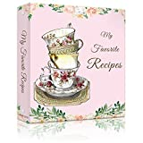 Lubudingjoy Recipe Book Binder, Hardcover 3 Ring Binder Cookbook Binder for Recipes, Create Your Recipe Binders, Recipe Binder with Cards, Sleeves and Dividers (Retro Cups)