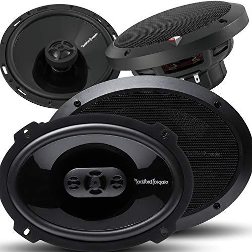 "Pair of Rockford Fosgate Punch P1694 6"" X 9"" 300W 4-Way + P1650 6.5"" 220W 2-Way Full Range Coaxial Speakers - 4 Speakers + Gravity Magnet Phone Holder"