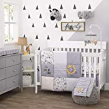 Little Love By Nojo Roarsome Lion, Grey, Yellow, White 3Piece Nursery Crib Bedding Set With Comforter, Fitted Crib Sheet, Dust Ruffle, Yellow, Grey, White, Charcoal