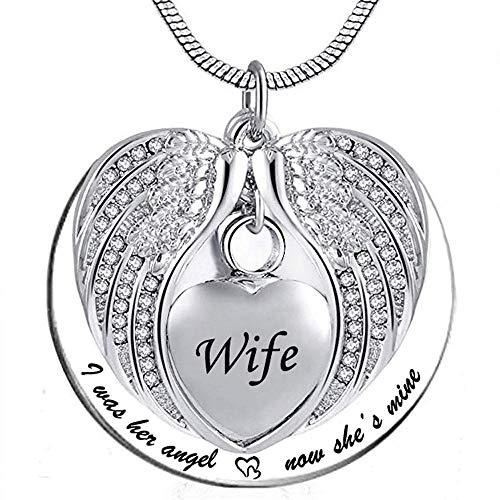 UGBJ Cremación Colgante Collar de la urna del ala de ángel para el corazón del corazón de la Ceniza del bastón del bastón de la joyería del Collar del Recuerdo con el Kit de llenado y el Regalo