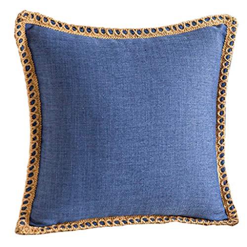 NKDD Farmhouse Throw Pillow Case Arpillera Lino Recortado Borde a Medida Funda de cojín Funda de Almohada Azul Oscuro