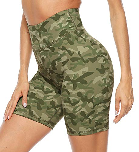 Persit Yoga Shorts for Women Spandex High Wasited Running Athletic Biker Workout Leggings Tight Fitness Gym Shorts with Pockets - Green