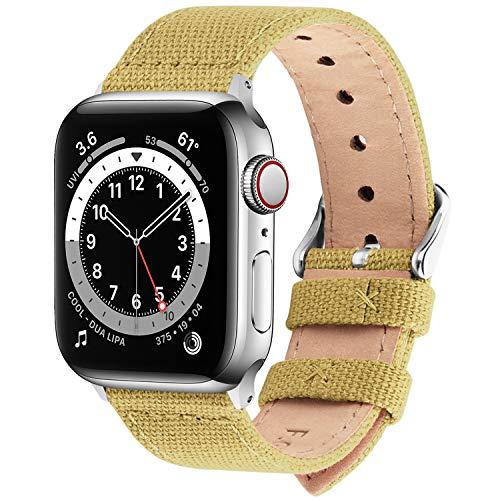 Fullmosa Cinturino per Apple Watch 42mm/44mm, Cinturini in Tela di Ricambio Compatibile con iWatch SE, Apple Watch Serie 6/5/4/3/2/1, Fibbia in Acciaio Inossidabile, 42mm(44mm), Giallo