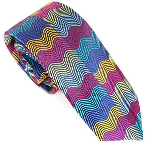 Van Buck - Corbata de seda con rectángulos horizontales de edición limitada