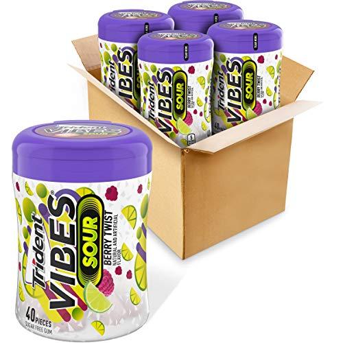 Trident Vibes Sour Sugar Free Gum, Berry Twist Flavor, 4 Go-Cups (160 Pieces Total)