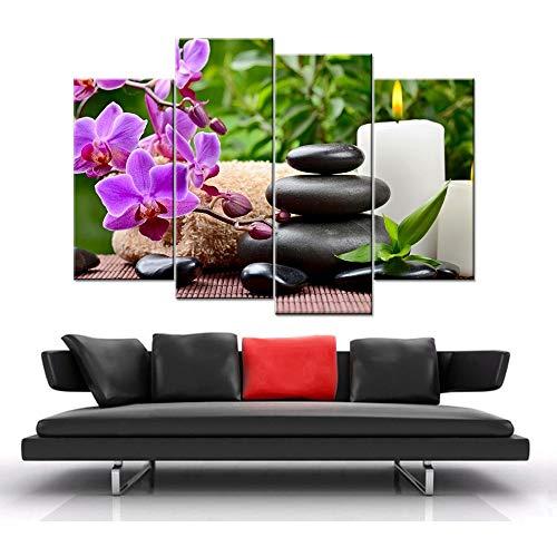 Canvas kunst HD poster en afdrukken wandafbeelding voor de woonkamer kalligrafie kaars lotusbloem decoratie modulaire schilderij 40x60cmx2 40x80cmx2 40x100cmx1 Frame