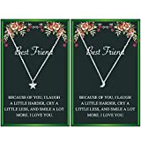 Best Friend Necklaces for 2 Friend Gifts Star and Moon Choker Friendship Necklace for 2 Best Friend for Women with Message (silver)