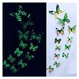 Calcomanías de pared 12 unids / set Luminoso mariposa etiqueta de la pared sala de estar mariposas para la decoración de la fiesta de bodas Inicio 3D Frigorífico Pegatinas Wallpaper Hermoso y practico