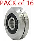 VXB Brand 16-PIECES RM2-2RS 3/8'' Roller Ball Bearing V Groove Rubber Sealed Line Track Roller Bearing Type: V Groove Guide Bearing Quantity: Set of 16 bearings Load Rating Dynamic C: 8,260 N