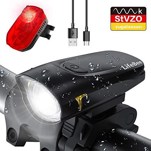 LIFEBEE LED Fahrradlicht Set, USB Wiederaufladbare Frontlicht und Rücklicht Set, StVZO Zugelassen Fahrradbeleuchtung, Fahrradlampe Fahrrad Vorderlicht, 2 Licht-Modi, mit USB Kabel für Mountainbike