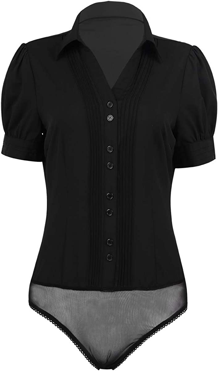 inhzoy Women's Short Sleeve Button Down One Piece Easy Care Career Work Shirt Bodysuit
